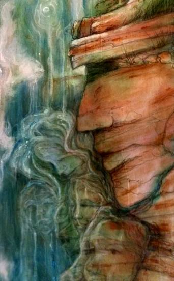 Faces~ Waterfall ~ Mural on Loose Canvas by Lynn Spencer-Nelson