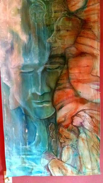 Bottom- Waterfall ~ Mural on Loose Canvas by Lynn Spencer-Nelson